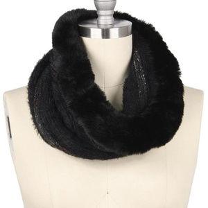 fur Trim Furry Knit Tube Scarf Black